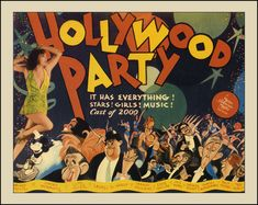 Laurel and Hardy and many more 30's celebs in a poster by Hirschfeld.