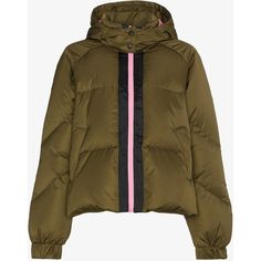 Ganni Puffer Jacket With Hood And Contrasting Zip ($415) ❤ liked on Polyvore featuring outerwear, jackets, puffy jacket, ganni, zip jacket, brown puffer jacket and hooded zip jacket