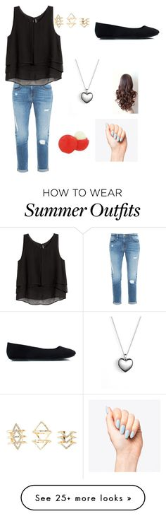 """""""Sara Argent's first day of school outfit"""" by sultrystiles on Polyvore featuring Frame Denim, H&M, Pandora, Charlotte Russe and Eos"""