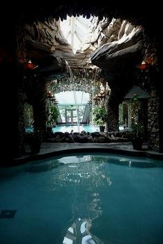 Indoor Swimming Pool Ideas for Your Luxury Home. Swimming can be regarded as one of the fun sport. Especially if you have your own pool. Yes, for some people the presence of a swimming pool can incre. Indoor Pools, Beautiful Pools, Beautiful Places, Pool Waterfall, Waterfall House, Indoor Waterfall, Luxury Pools, Dream Pools, Cool Pools