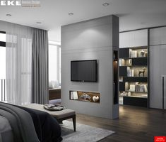 Designed & Visualized by EKE TeamTans House. Designed & Visualized by EKE Team Bedroom Closet Design, Home Room Design, Master Bedroom Design, Home Decor Bedroom, Modern Bedroom, Home Interior Design, Luxury Bedroom Design, Tan House, Dressing Room Design
