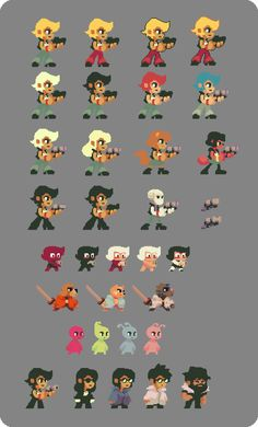 Research colors, styles and characters for new game project,I have a preference for the style to the last line. Don't hesitate to give your opinion :)
