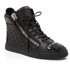 Giuseppe Zanotti Lace Up High Top Sneakers - London Zip Quilted (7.120 DKK) ❤ liked on Polyvore