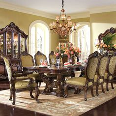 Chateau Beauvais, Chateau Beauvais Rectangular Table Dining Room Set, Dining Room Table Sets, Bedroom Furniture, Curio Cabinets and Solid Wood Furniture - Model - Home Gallery Stores Furniture Classic Dining Room, Elegant Dining Room, Dining Room Sets, Dining Room Design, Dining Room Furniture, Dining Room Table, Furniture Market, Accent Furniture, Tuscan Dining Rooms