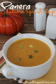 Frugal Coupon Living's Copycat Panera Autumn Squash Soup. Great for the Fall, Halloween and October Season. Pin to Pinterest