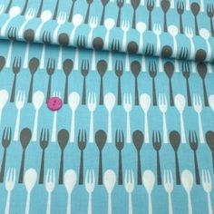 Spoons And Forks – Blue  http://fabricrehab.co.uk/fabrics/spoons-and-forks-blue/