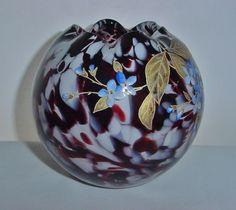 HARRACH Signed ROSEBOWL Art Nouveau MAGNIFICENT Hand Painted GORGEOUS Glass VASE