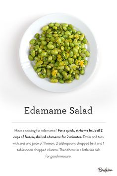 An easy and healthy dinner option. Our Edamame Salad recipe ready in 2 minutes. Try it tonight.