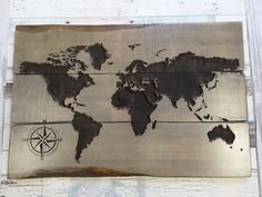 World Map Wall Art Travel Map Map Art Gifts for Travelers