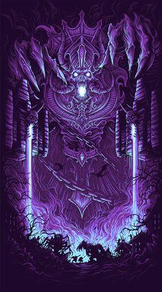 The Geeky Nerfherder: 'Hearthstone: Kel'thuzad' by Dan Mumford. Fantasy Kunst, Dark Fantasy Art, Dark Art, Arte Horror, Horror Art, World Of Warcraft Wallpaper, Dan Mumford, War Craft, Warcraft Art