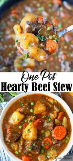 This Hearty Beef Stew will warm you to the bones. Tender cubes of beef, carrots and potatoes in a rich delicious sauce. Everyone is sure to crave! via This hearty beef stew is comfort food at its best! It will definitely warm your soul! Beef Soup Bones, Beef And Potato Stew, Hearty Beef Stew, Carrots And Potatoes, Beef Stew Meat, Beef Stews, Simple Beef Stew, Dutch Oven Beef Stew, Chicken Potatoes