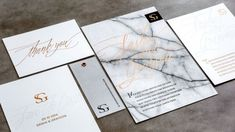 Marble and gold foil invitation suite by Bliss & Bone
