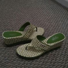 Authentic Coach Sandals ***  EUC *** Beautiful green and white color. Worn only a few times. Shoes Wedges