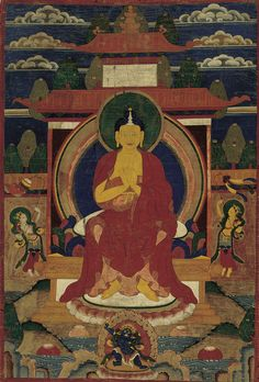 Future Buddha Maitreya Tibet c. 1800 Opaque watercolor on cotton 28 x 18-3/4 in. (71.1 x 47.6 cm)  Norton Simon Museum, Gift of Pratap and Chitra Pal.  © Norton Simon Museum