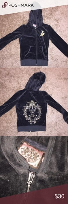 Juicy Couture Zip Up Velour Jacket Dark gray Juicy Couture zip up velour jacket with gold detailing.  Hugs your body and fits true to size. In very good condition! Size small. Juicy Couture Sweaters