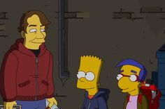 """Shepard Fairey (guest-voicing as himself), catches Bart and Milhouse spray-painting walls around Springfield in the act in the """"Exit Through the Kwik-E-Mart"""" episode of THE SIMPSONS. Bart Simpson, The Simpsons Tv Show, Shepard Fairey Art, Kwik E Mart, Simpsons Characters, Simpsons Cartoon, Kenny Scharf, Bojack Horseman, Futurama"""