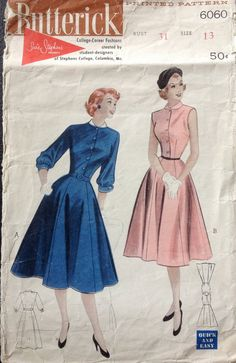 Butterick  6060 1950s Bell Skirt DRESS Pattern Susie Stephens Designs womens vintage sewing pattern  by mbchills on Etsy