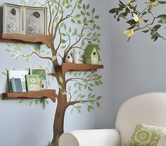 This is such a clever way to combine wall decor and shelves together!