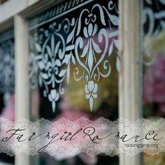 lace stenciled window