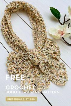 Easy Crochet Headbands, Crochet Hair Clips, Crochet Headband Pattern, Crochet Gloves, Knitted Headband, Crochet Twist, Cute Crochet, Crochet For Kids, Boho Crochet Patterns