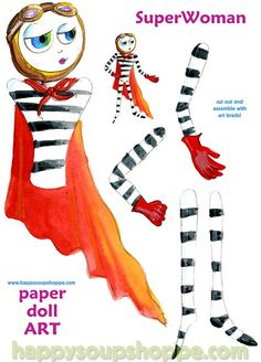 Super Woman Superhero Super Mama Paper Doll Art by HappySoupShoppe