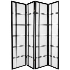 Oriental Furniture 6 ft. Tall Double Cross Shoji Screen - 4 Panel - Black