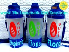Personalized Sippy Cup with Snack Holder and Pop Up Straw, Surfer, Surfboard, Set of 5, Birthday Party Favor