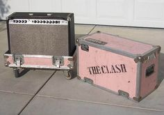 "Joe Strummer's Music Man combo, in one of the many ""Clash"", special-order, pink, Calzone flight cases....written on the inside, in Joe's hand, ""The Perfect Sound""....K"