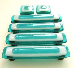 Glass Knobs and Pulls in Custom Turquoise and White Glass by Uneek Glass Fusions, via Flickr