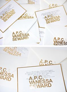 A.P.C. & VANESSA SEWARD  FALL/WINTER 2012 LAUNCH INVITATION  Art direction by Petronio Associates.  Defining the debut of a unique new collaboration.