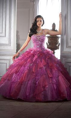 Purple/Fuschia Ruffled Ballgown-Front
