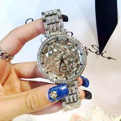 Women Big Diamond Bracelet Watches!Luxury Crystal Women Bracelet Watch Female Mashali Dress Watch Ladies Rhinestone Wristwatches