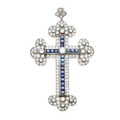 Platinum Sapphire and 4 1/2ct TDW Diamond Cross Estate Pendant (I-J, SI1-SI2) | Overstock.com Shopping - Top Rated Estate Jewelry Accessorie...