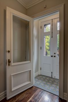 Parlor vestibule entry foyer in a brownstone renovation. Door Entryway, Entry Foyer, Porch Entry, Entry Doors, Sas Entree, Floor Design, House Design, Enclosed Front Porches, Porch Tile