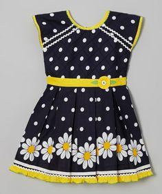 Love this Black & Yellow Polka Dot Daisy A-Line Dress - Girls on #zulily! #zulilyfinds