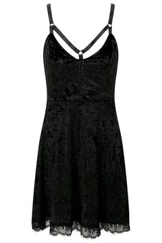 Adora Velvet Crush Dress [B] | KILLSTAR Get yer 'Cute Can Kill' vibes fulfilled with this all-crushed velvet babydoll; with statement strap detailing and lace accent hems. The soft lush fabric adds to the flattering shape - making it an easy go-to piece for day or night, purrfect for the gothdolls and fashionistas alike.