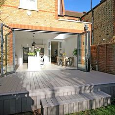 Lightweight,Durable Outdoor Composite Hollow Decking For Sale House Extension Plans, House Extension Design, Rear Extension, Back Garden Design, Backyard Garden Design, Garden Room Extensions, House Extensions, Small Garden Decking Ideas, Decking Material