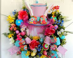 READY To SHIP ALICE in wonderland Mad Hatter Top Hat Whimsical Wreath Easter Egg Spring Summer Wall hanging Door Decoration Bunny Rabbit