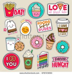 Set of fashion girls patches, cute colorful badges, fun cartoon icons design vector in food and drinks concept # Food and Drink icon Portfolio stock fotek a snímků od přispěvatele Picnote Journal Stickers, Scrapbook Stickers, Planner Stickers, Tumblr Stickers, Cute Stickers, Badge, Chibi Kawaii, Planner Doodles, Patches