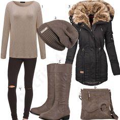 16b749b9109b54 Braun-Schwarzes Winter-Style mit Stiefeln und Mantel. Schicke DameOutfit  IdeenHandtaschenDamen ModeBekleidungSchwarzStiefelOutfits ...