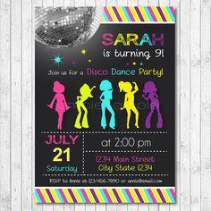 Disco Birthday Invitation Digital Printable