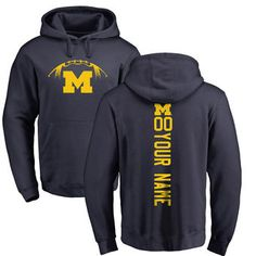 Michigan Wolverines Football Personalized Backer Pullover Hoodie - Navy
