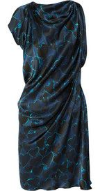 LanvinHeart-print silk-satin dress
