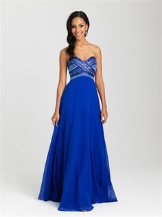 A-line Strapless With Crossover Beaded Bodice Chiffon Prom Dress PD12113