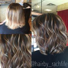 Mocha tones, blonde balayage and a bob haircut! Perfect fall hair color. Hair by Rachel Fife @ Sara Fraraccio Salon in Akron, Ohio