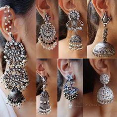 Such amazing earrings Indian Jewelry Earrings, Jewelry Design Earrings, Silver Jewellery Indian, Indian Wedding Jewelry, Silver Jewelry, Silver Ring, Fancy Earrings, Turkish Jewelry, Earrings
