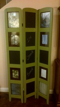 Repurposed photo room divider with chalkboard panels, https://www.facebook.com/juliesfandangled