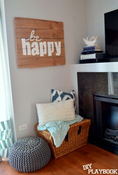 Create a #HomeGoodsHappy nook with some personalized art & cozy pillows! #HappybyDesign via @DIY Playbook