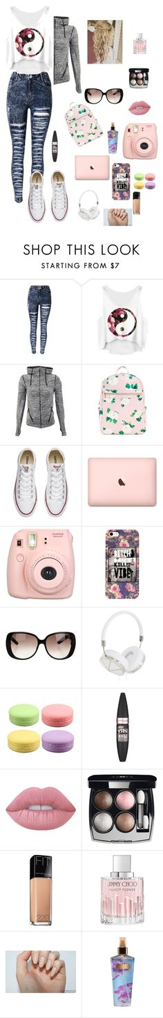 """""""Untitled #230"""" by sophiehemmings18 ❤ liked on Polyvore featuring Converse, Fujifilm, Gucci, Frends, Maybelline, Lime Crime, Chanel, Jimmy Choo and Victoria's Secret"""