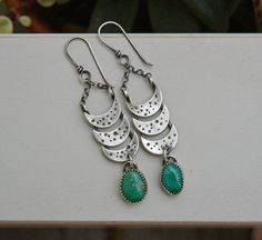 Crescent Moon Turquoise Earrings. Sterling by sundownbeaddesigns